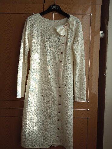 Кундон коргоочу кремдер - Кыргызстан: Красивое,нарядное платье,одела один раз,,ажурное,кремового цвета,46