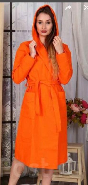 raz 46 в Кыргызстан: Новый Халат махровый халат. размер 46-50. карман+капюшон. новый
