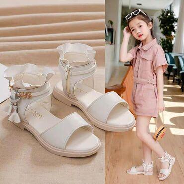 Детские сандали, размер 33(нога см-21,5см),белые,кожа PU,цена
