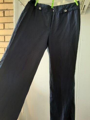 Lanene pantalone - Srbija: Teget lanene tanke pantalone 40 kao nove