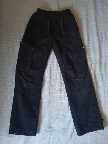 Pantalone sjajne - Srbija: GOTOVO NOVO somotske teget pantalone, 95% cotton br. EU 30. Sjajne za