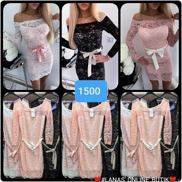 Uske haljine S m l Cipka niz celu haljinu Bela, roza, crna