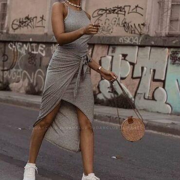 Preko grudi - Srbija: Siva haljina asimetričnog kroja na preklop, nenošena kupljena preko