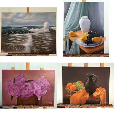 Картины маслом на холсте 1.морской пейзаж-3000 сом (60х80)2.натюрморт