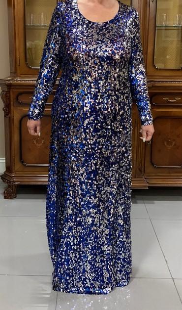 юбка в паетках в Кыргызстан: Платье в паетках б/у переливается серебряными и синими оттенками Для