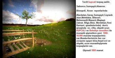 Bakı şəhərində Tecili kupcali torpaq satilir.