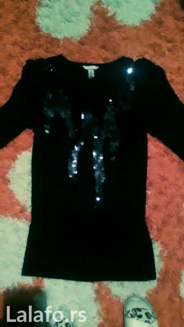 Zenska pamucna crna  majica dugih rukava sa sljokicama , odgovara vel - Kikinda