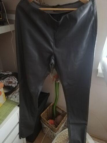 Kozne helanke - Srbija: Kozne tamno sive helan pantalone postavljenje 42 nove