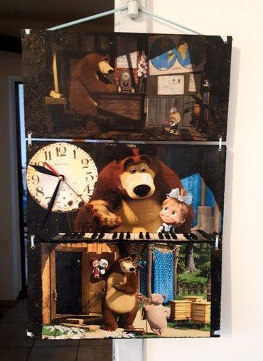 Drveni zidni sat dimenzija 33x51cm. Rucni rad - Vrsac