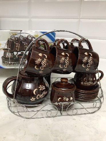 фарфоровый сервис в Кыргызстан: Чайный сервис 2000 сом в комплекте 6 кружок, 6 тарелок, заварочный чай
