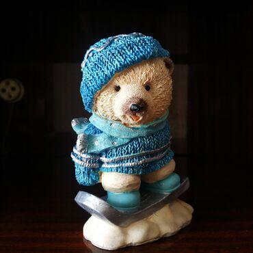 Мишка на сноуборде - керамика. Высота 12см. Немецкое качество!