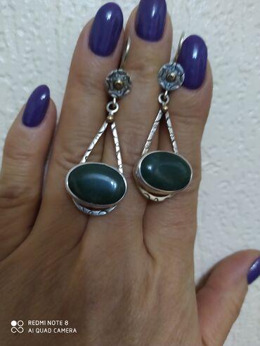 Серебряные серьги с натуральным камнем, индивидуальный заказ ручная