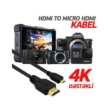 Kabellər və adapterlər Azərbaycanda: 4K dəstəkləyən original HDMI CABLE. HDMI kabelin bir tərəfi normal böy