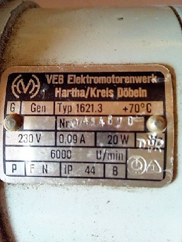 Elektrik malları - Azərbaycan: Немецкий электромотор, Veb Elektromotorenwerk Hartha/Kreis Dobeln -