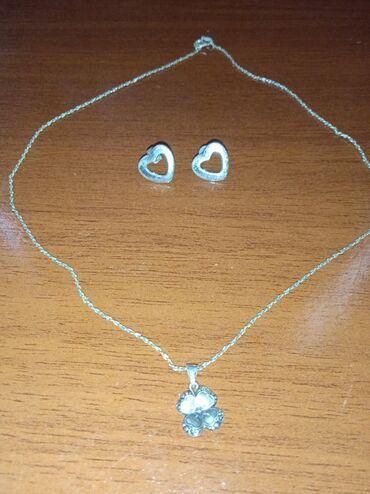 Продается цепочка с кулоном клевер четырех личный и серёжки гвоздики
