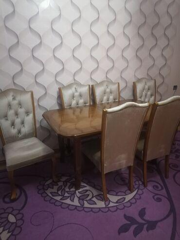 мягкая мебель - Azərbaycan: Стол трансформер и стулья мягкие в отличном состоянии. Размер стола