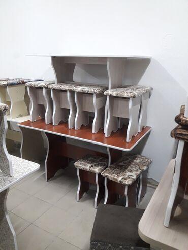 стол с табуретками in Кыргызстан   ДРУГИЕ ТОВАРЫ ДЛЯ ДОМА: Столь 6 табуретка на кухню новый с доставкай