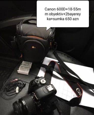 Qusar şəhərində Canon 600D+obyektiv 18-55mm +2 batereyka+sumka