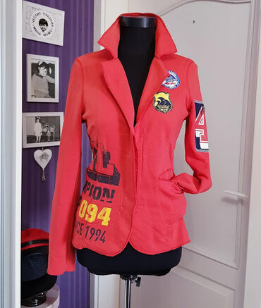 Red jacket - cotton fabric - size M. No remarks