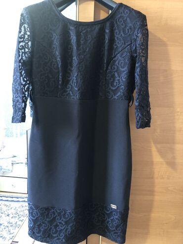 Платье чёрное стильное с кружевами  Размер 46  Почти новая Сидит идеал