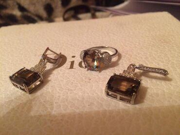 Комплект с дымчатым топазомразмер кольца 18