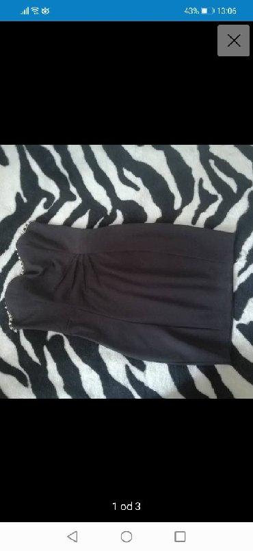 Crna haljina sa cirkonima, l velicina