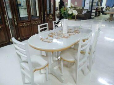 Белый стол и шесть стульев.Продам срочно!Дешевле чем в