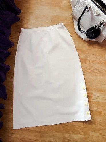 Suknja sl - Srbija: Bela suknja, duboki struk. S/36. Perfektno očuvana, nema nikakvu fleku