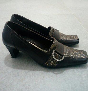 Ženske kožne cipele na štiklu braon zlatne boje,sa ukrasnom - Obrenovac