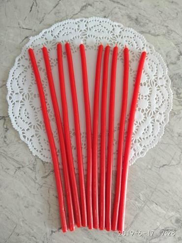 Свечи - Кыргызстан: Красные восковые свечи 0,6*23см 1час горения