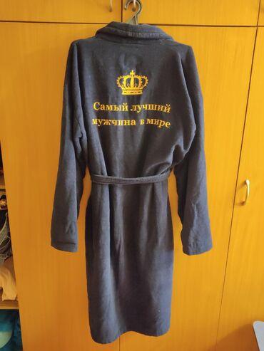 Мужской махровый халат. С вышивкой. Турецкая ткань. Размер XL-XXL