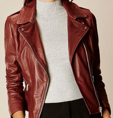 SASCH bordo kožna jakna, kratka od prirodne kože. Veličina M