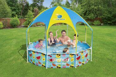 Спорт и хобби - Талас: Каркасный бассейн с навесом Bestway 244х51см, 1688лКаркасный бассейн