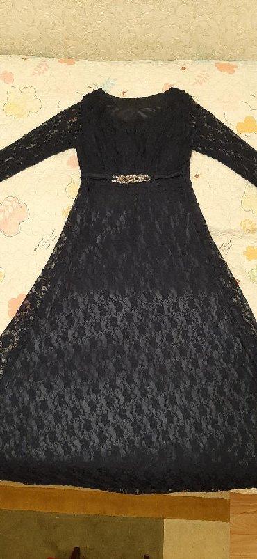 вечернее платье темно синего в Кыргызстан: Платье из гипюра с подкладкой шелковым,размер 44-46,темно-синее