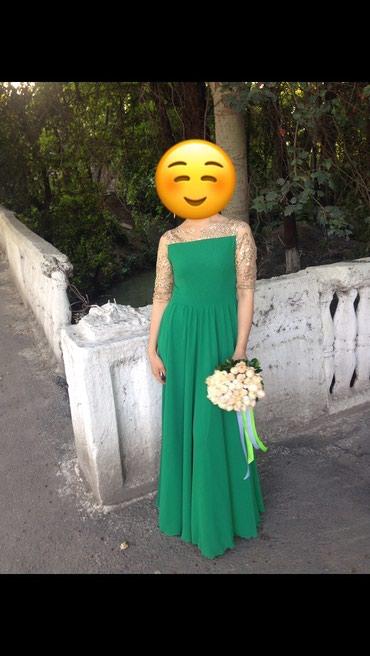 золотое платье в пол в Кыргызстан: Золотисто-изумрудное платье в пол, одевала 1 раз, состояние
