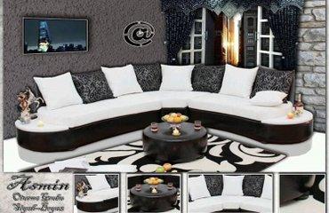 Bakı şəhərində Ay işığı künc divanı  Mdivan siyah ve beyaz rengli parçalardan hazırla