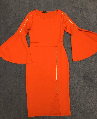 платье в пол с разрезом в Кыргызстан: Эффектное платье. Визуально уменьшает талию, вертикальная полоса вытяг