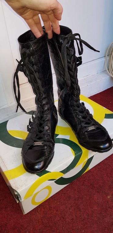 I-cizme - Srbija: Crne KOZNE cizme postavljene i tople dobro ocuvane neostecene