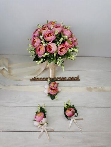 Свадебные аксессуары - Новый - Бишкек: Свадебный букет невесты  Цветы искусственные  Цена за набор  Пишите на