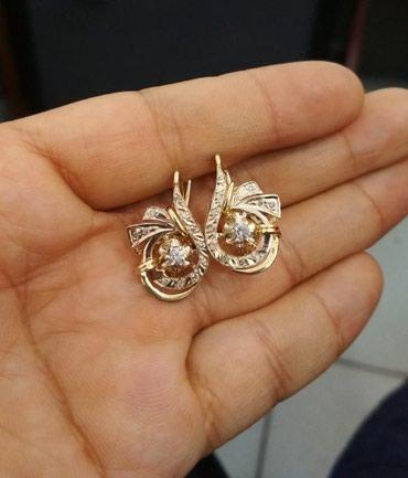 Серьги золотые с бриллиантами, 585 в Бишкек