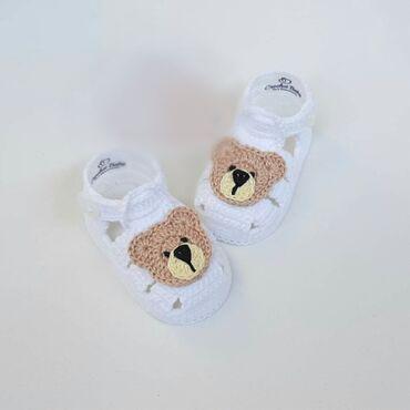 Heklane nehodajuće sandalice za bebe, dečake i devojčice, od pamučnog