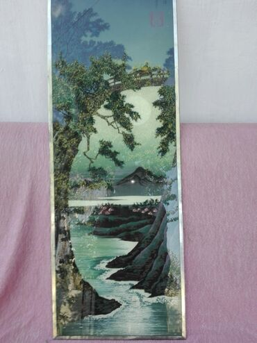 "212 объявлений: Картина нарисована на стекле. ""Залив"" СССР ширина 35см высота 90 см"