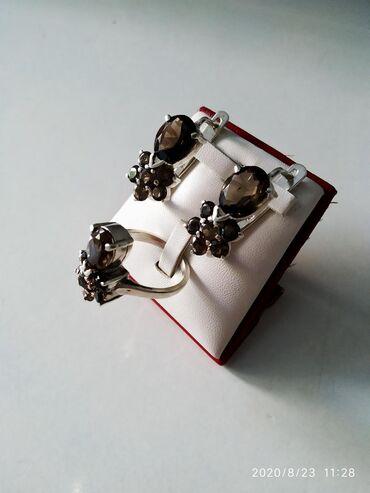 sergi 925 в Кыргызстан: Комплект серебро 925 пробы с раухтопазом, Индия.  Заходите смотреть в