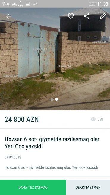 Bakı şəhərində Hovsanda ---TECİLİ SATİRAM 24;800 AZN --6SOT TORPAQ SATİRAM