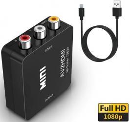 аудио конвертер в Азербайджан: RCA к HDMI, AV к HDMI GANA 1080P Мини RCA композитный видеосигнал AV к