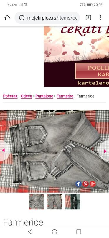 Pantalone-farmerice-br - Srbija: Farmerice sa elastinom. 38 broj bez ostecenja moze se reci nove jer su