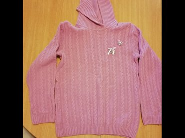 Rolka timeout - Srbija: Roze vuneni džemper za devojčice sa rol kragnom. Za uzrast 8-10