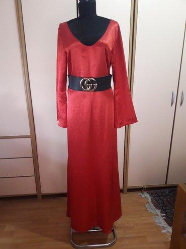 Satenska crvena haljina M vel