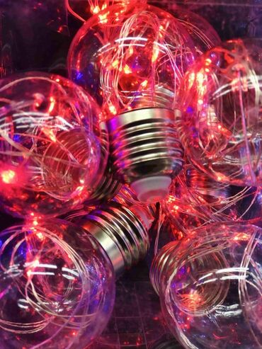 Гирлянда лампочки красные  От сети 9 лампочек в комплекте