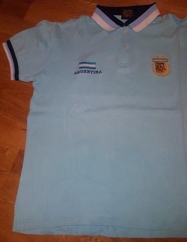 ARGENTINA -  majica sa kragnicom za decake. Svetlo plava sa  belim i - Beograd